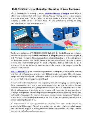 Bulk SMS Service in Bhopal for Branding of Your Company