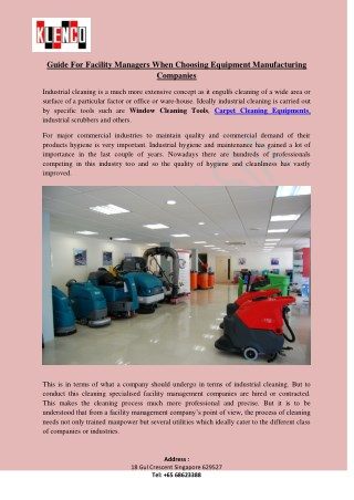 Carpet Cleaning Equipments,