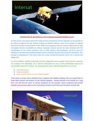 Satellite connectivity in Africa