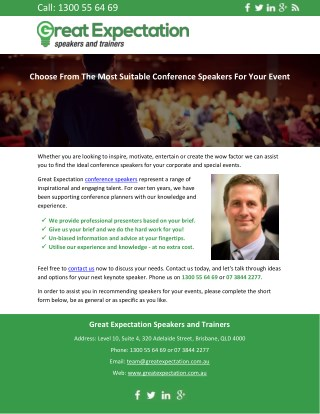 Choose From the Most Suitable Conference Speakers for Your Event