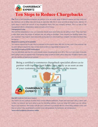 Ten Step of Reduce Chargeback