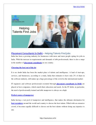 Helping talents Find Jobs