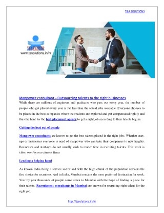 Manpower consultant – Outsourcing talents to the right businesses