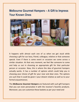 Melbourne Gourmet Hampers – A Gift to Impress Your Known Ones