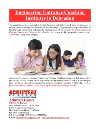 Engineering Entrance Coaching Institutes in Dehradun