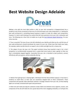 Best Website Design Adelaide