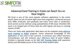 Advanced Excel Training in Dubai can Reach You on New Height
