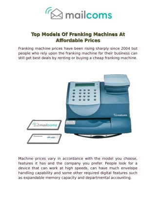 Top Models Of Franking Machines At Affordable Prices