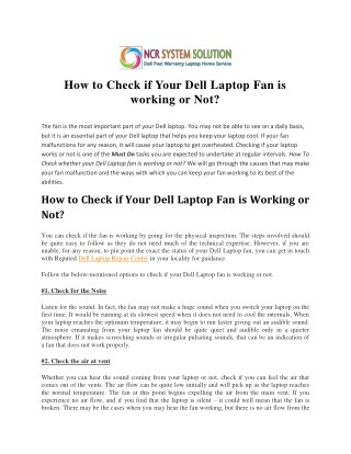 How to Check if Your Dell Laptop Fan is working or Not?