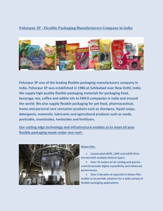 Paharpur 3P - Flexible Packaging Manufacturers Company in India