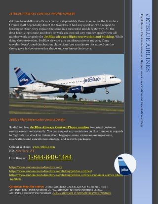 JETBLUE AIRLINES CONTACT PHONE NUMBER