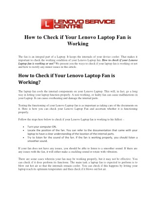 How to Check if Your Lenovo Laptop Fan is Working