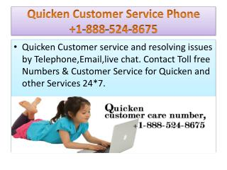 Quicken online help support number 1-888-524-8675
