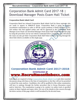 Corporation Bank Admit Card