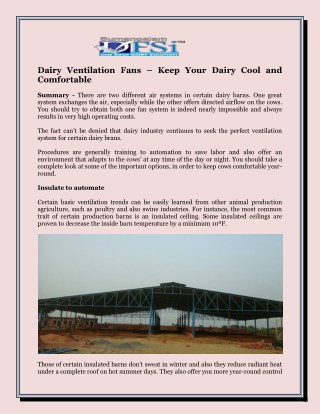 Dairy Ventilation Fans – Keep Your Dairy Cool and Comfortable