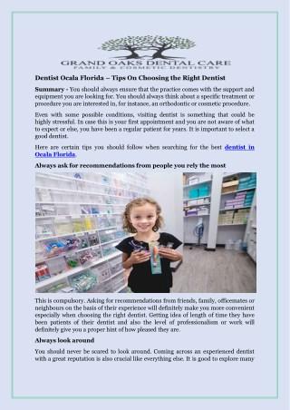 Dentist Ocala Florida – Tips On Choosing the Right Dentist