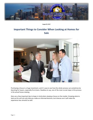 Important Things to Consider When Looking at Homes for Sale