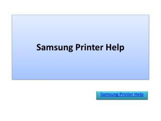 Samsung Printer Help
