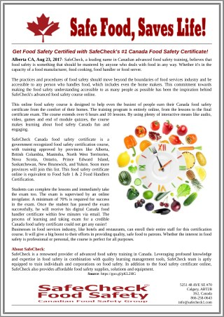 Get Food Safety Certified with SafeCheck's #1 Canada Food Safety Certificate!