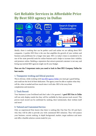 Hire Reliable SEO Company in Dallas at Affordable Price