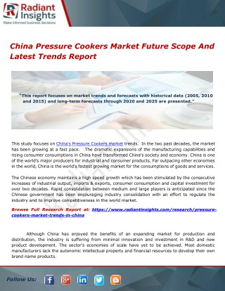 China Pressure Cookers Market Future Scope And Latest Trends Report