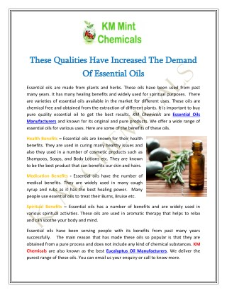 These Qualities Have Increased The Demand Of Essential Oils
