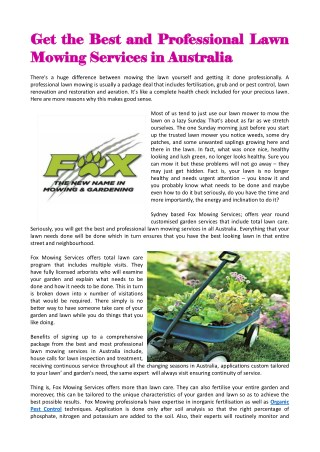 Get The Best And Professional Lawn Mowing Services In Australia