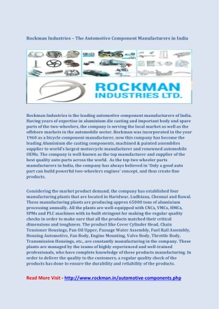 Rockman Industries – The Automotive Component Manufacturers in India