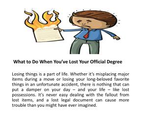 What to Do When You've Lost Your Official Degree