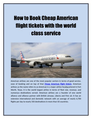 How to Book Cheap American flight tickets with the world class service