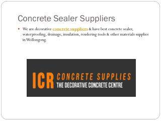 Concrete Sealer Suppliers