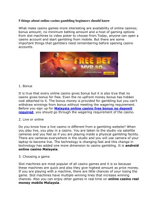 5 things about online casino gambling beginners should know