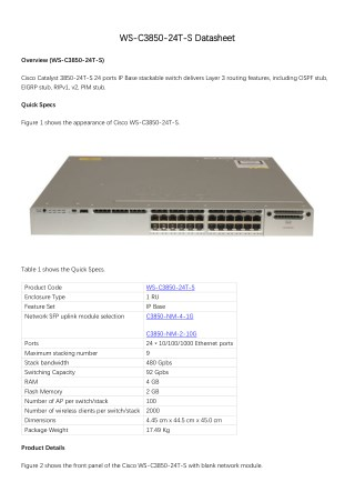 PPT - Cisco Catalyst 3850-24T-S Datasheet PowerPoint