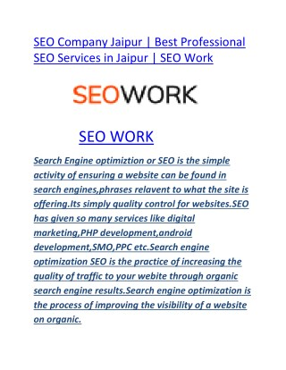 SEO Company Jaipur | Best Professional SEO Services in Jaipur | SEO Work