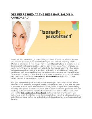 GET REFRESHED AT THE BEST HAIR SALON IN AHMEDABAD