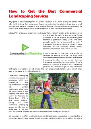 How To Get The Best Commercial Landscaping Services