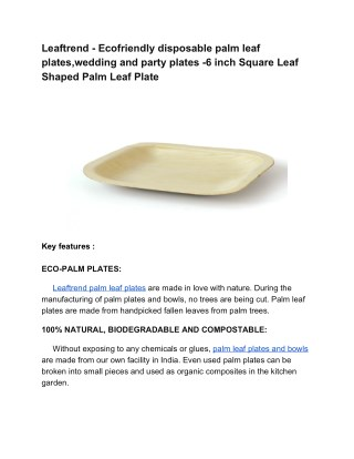 Leaftrend Eco-friendly disposable palm leaf plates,wedding and party plates -6 inch Square Leaf Shaped Palm Leaf Plate