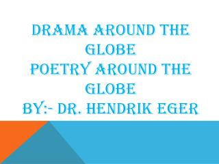 POETRY for Friends Around the Globe by Henrik Eger