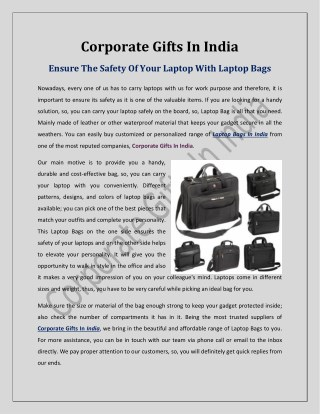 Ensure The Safety Of Your Laptop With Laptop Bags