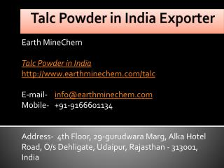 Talc Powder in India Exporter