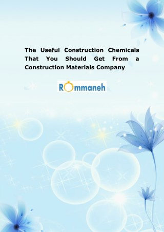 The Useful Construction Chemicals That You Should Get From a Construction Materials Company