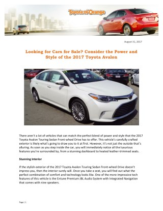 Looking for Cars for Sale? Consider the Power and Style of the 2017 Toyota Avalon