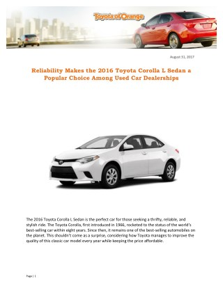 Reliability Makes the 2016 Toyota Corolla L Sedan a Popular Choice Among Used Car Dealerships
