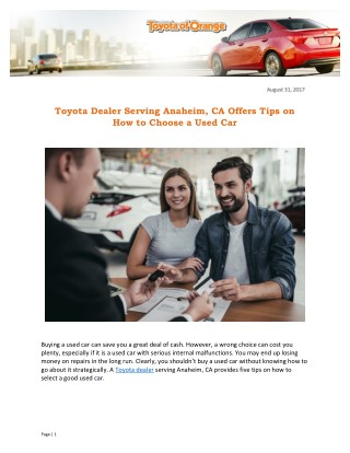 Toyota Dealer Serving Anaheim, CA Offers Tips on How to Choose a Used Car