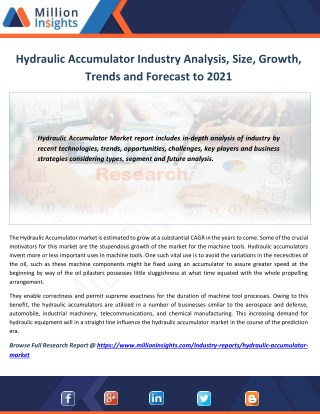 Hydraulic Accumulator Market Technological Advancements & Competitive Insights to 2021