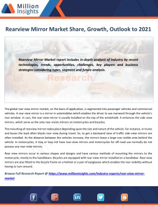 Rearview Mirror Market by Applications, Region, Type and Top Players Analysis