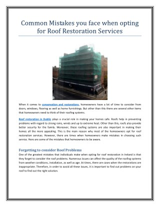 Common Mistakes you face when opting for Roof Restoration Services