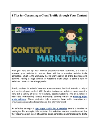 4 Tips for Generating a Great Traffic through Your Content