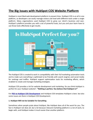 The Big Issues with HubSpot COS Website Platform