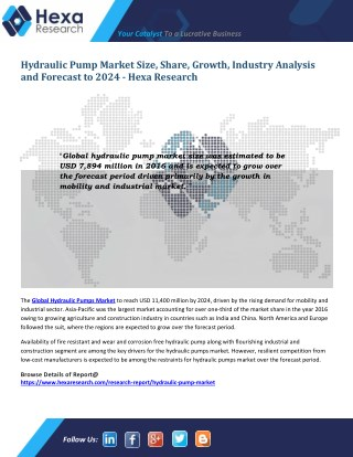 Hydraulic Pumps Industry Research Report - Analysis and Forecast to 2024